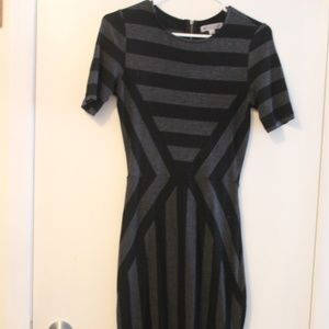 Dresses - Modcloth grey and black striped midi dress